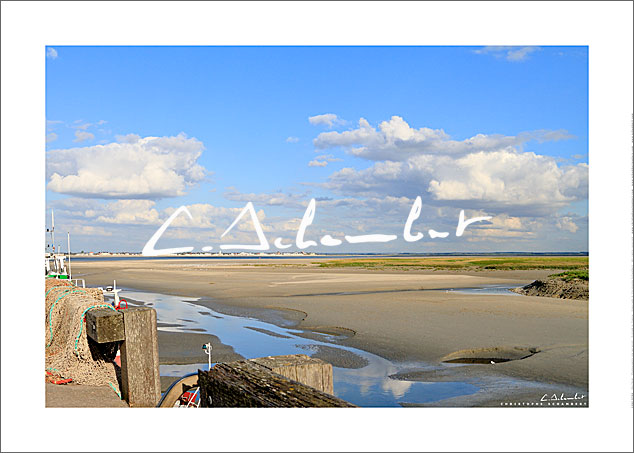 Quay of Le Hourdel, Bay of Somme, Picardy Coast, Hauts-de-France, France. Photo poster and art print. Image Gallery and picture Christophe Schambert