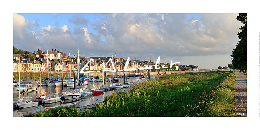 Saint-Valery-sur-Somme marina in the morning sun, Bay of Somme, Picardy Coast, Hauts-de-France, France. Photo poster and art print. Image Gallery and picture Christophe Schambert