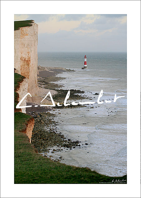 Poster Art Photo Beachy Head Lighthouse - East Sussex - British Coast - Cote Anglaise - Image Christophe Schambert