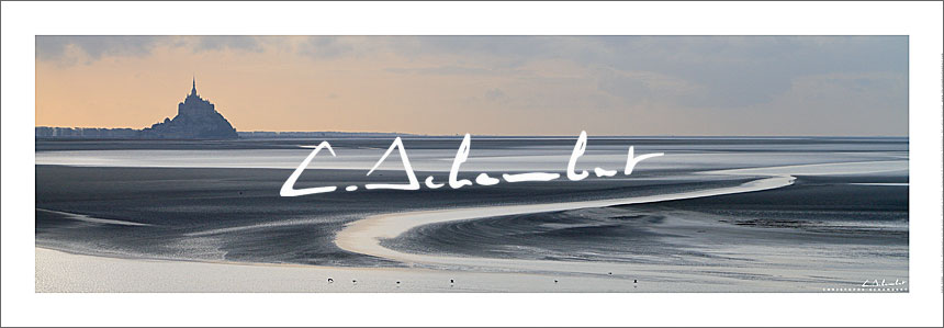 Bay of  Mont-Saint-Michel at low tide at sunset, panoramic view, Cotentin, Normandy, France. Photo poster and art print. Image Gallery and picture Christophe Schambert