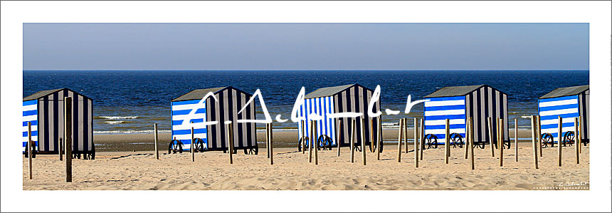 Blue and white striped beach cabins of De Panne, panoramic view, Belgian Coast, North Sea, Belgium. Photo poster and art print. Image Gallery and picture Christophe Schambert
